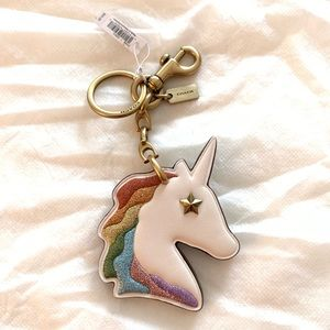 Coach unicorn leather keychain